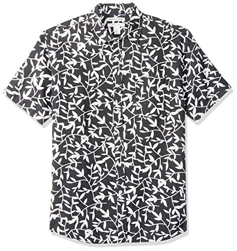 gular-Fit Short-Sleeve Print Linen button-down-shirts, Black Leaf, US (EU XL-XXL) ()