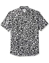 Amazon Essentials Regular-Fit Short-Sleeve Print Linen Shirt Uomo