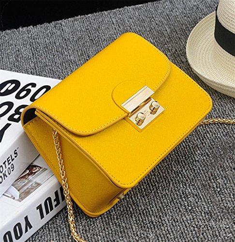 YANX Fashion PU signora piccola festa catena borsa borsa delle signore Borsa a tracolla Tote (13 * 17 * 8 cm) , white Yellow
