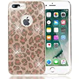 NALIA Handyhülle für iPhone 8 Plus / 7 Plus, Glitzer Leopard Slim Silikon-Case Back-Cover Schutz-Hülle, Glitter Leo Sparkle Handy-Tasche, Dünnes Bling Strass Etui für Apple iPhone 7+ / 8+ - Rosa Pink
