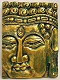 Buddha Wandbild Deko Wandrelief aus Holz 40 cm x 30 cm x 4 cm Maske Handarbeit