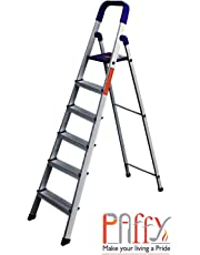 PAffy Premium Light Weight Aluminium Heavy Duty Folding Step Ladder - Maple 6 Steps with 7 Years Warranty * Made In India