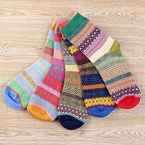 VANELIFE Vintage Women's Sock, Soft Warm Thick Cotton Crew Winter Socks, Yellow