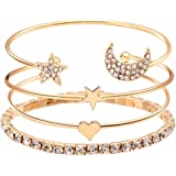 Shining Diva Fashion 15 Latest Designs Crystal Multilayer Stylish 3-5 pcs Set Charm Bracelets for Women and Girls