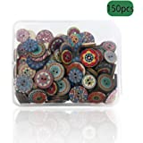 SUNTATOP 150 Vintage Wooden Round Buttons 15mm 20mm for Handmade Sewing and DIY Crafting Decorations