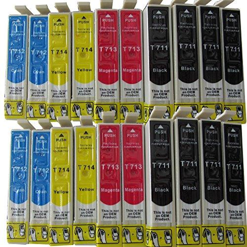 20 cartuchos de tinta con chip integrado compatibles con Epson T711 T712 T713 T714: 8x negro, 4x azul, 4x amarillo, 4x rojo