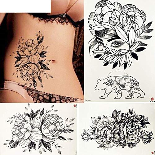 ruofengpuzi Arm gefälschte Schwarze Skizze Lotus Tattoo temporären weiblichen Körper Hals Taille Pflanze Tattoo Sticker Mädchen Tattoo Paste ()