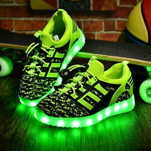 Yeeper Chaussures Enfants 7 Couleurs de LED Lumineuse USB charge Chaussures de Sports Baskets pour Garçon et Fille Vert