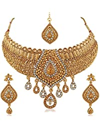 PALASH Unique Gold Plated Choker Bridal Necklaces Set With White And LCT Stones For Women And Girls