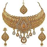 Best UNIQUE Diamond Necklaces - PALASH Unique Gold Plated Choker Bridal Necklaces Set Review