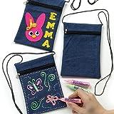 Lot de 6 pochettes en jean à décorer et personnaliser
