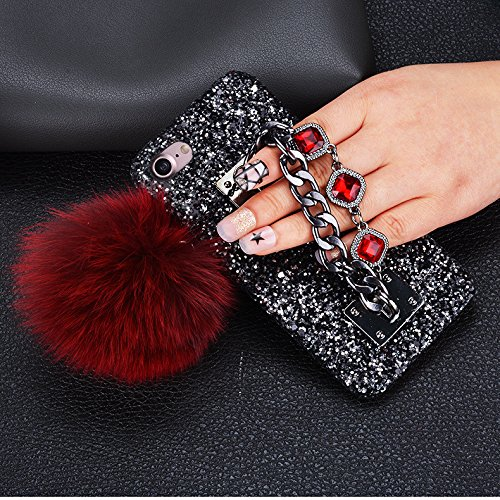 Cover iPhone 6S,Cover iPhone 6,Custodia iPhone 6S / iPhone 6 Cover,ikasus® Handmade di lusso scintilla Bling Full Crystal strass diamanti con Ciondolo a guscio di pallacanestro custodia per iPhone 6S  Rosso