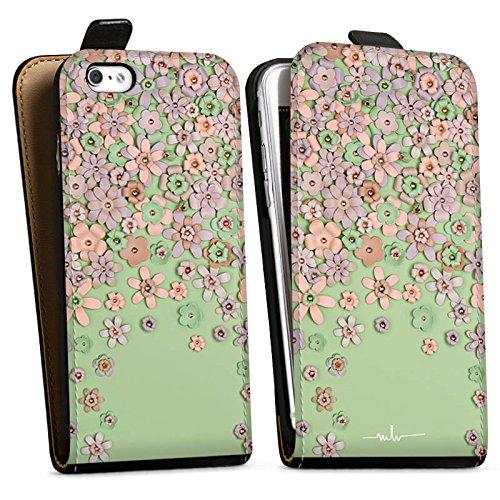 Apple iPhone X Silikon Hülle Case Schutzhülle Leder Blumen Muster Downflip Tasche schwarz