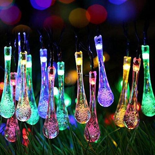 Solar Lichterkette, Cuitan 6M 30 LEDs Wassertropfen String Lights Mehrfarbig Dimmbar Solarbetrieben Gartenlicht Fairy Lights Schnur Lichter für Weihnachten, Party, Garten, Hochzeit, Baum, Terrasse, Fest Deko - Mehrfarbig