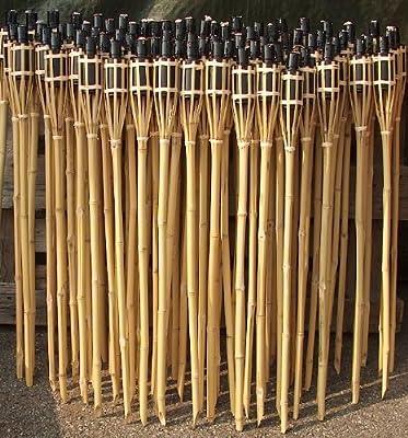 18 Stück Bambusfackeln 60 cm Öllampen mit Sturmverschluss mahagonirot von timtina® bei Lampenhans.de