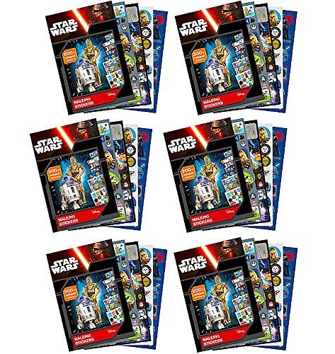 1260-tlg. Geburtstags-Set - STAR WARS - 6x Sticker-Album - Mitgebsel für Party-Tüten / Kindergeburtstag