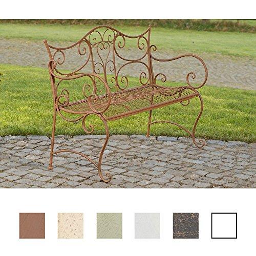 CLP Banc de Jardin Tara - Banquette de Jardin Fer Forgé Style Rustique - Place Assise pour 2 à 3 Personnes 113 x 47 cm – Différentes Couleurs au Choix : Marron Antique