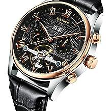 Sharplace Reloj Automático Mecánico Color Negro para Hombres Regalo de Día de Padre