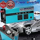 1500W Power Inverter DC 12V auf AC 220V 230V Auto Spannungswandler mit 2AC Ausgänge und 4USB Ladebuchsen für Smartphones Laptop GPS TV DVD