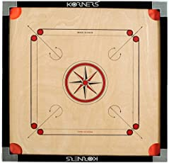 KORNERS Sky Full Size(Large) 32' Inches Cut Pocket Carrom Board with Coins, Striker & Carrom Powder (Large- 32 Inches)