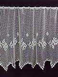VonKnaub Vollhäkelgardine nach Maß Rose Häkelspitze Häkelgardine Handhäkelspitze Landhausspitze Scheibengardine mit Ösen ca. 65 cm Höhe Meterware 100% Baumwolle Ecru