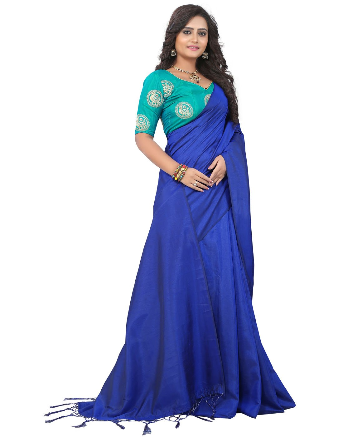 2d8ba56c4e5c8 e-VASTRAM Women s Plain Soft Art silk Tassel Saree with Unstitched ...