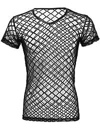 c3f48a6c86fa iEFiEL Herren Unterhemd Netzhemd schwarz transparent Unterwäsche Stretch Netz  T-Shirt Hemd Tops Clubwear M…