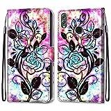 Nadoli Bunt Leder Hülle für Huawei Honor 8X,Cool Lustig Tier Blumen Schmetterling Entwurf Magnetverschluss Lanyard Flip Cover Brieftasche Schutzhülle mit Kartenfächern -