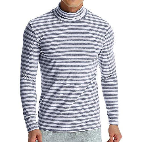 Diamant-streifen-shirt (Carol -1 Herren Rollkragen Pulli Shirt Langarmshirt Untershirt Slim Fit Rollkragenpullover Pullover Streifen)