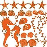 GRAZDesign 300168_57x57_WT035 Wandtattoo Muscheln für Bad | Selbstklebende Klebe-Folie für Wände - Fliesen - Spiegel | Wand-Aufkleber als Set mit 20 unterschiedlichen Seesternen -Seepferdchen (57x57cm // 035 pastellorange)