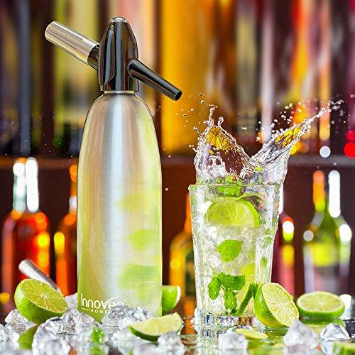 Innovee Soda-Siphon – Der beste Sodasprudler - Aluminium – 1 Liter + Cocktail Rezepte Ebook - Bereiten Sie Sprudelwasser mit Leitungswasser oder aus der Flasche vor - Bereiten Sprudelwasser vor wann Sie es vollen - benötigt Standard-CO2 Kapseln (nicht enthalten) -