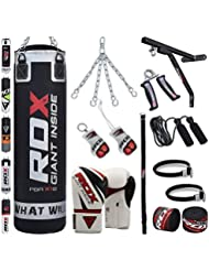 RDX Saco de Boxeo Relleno MMA Muay Thai Kick Boxing Artes Marciales Con Soporte Pared Cadena Guantes 17 PC 4FT 5FT Punching Bag