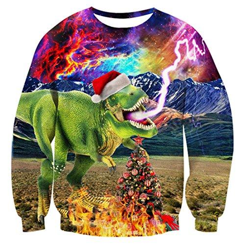 Uideazone Herren Damen Ugly Weihnachten Sweatshirts Printed Galaxy Dinosaurier Lange Ärmel Jumper Shirt Plus Size,Asia XXL= EU XL