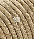 Câble électrique revêtu de tissu ronde coloré tricot Ecru Canvas jute 2 x 0,75 pour Lampadaires lampes-abat jour design. Made in Italy !
