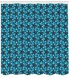 ABAKUHAUS Flor Cortina de Baño, Diseño Abstracto del Verano, Estampa Moderna sobre Tela Resistente al Agua Fácil Limpieza, 175 x 220 cm, Azul Petróleo Y Aqua