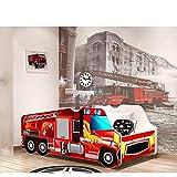 Relita BK24051105 Autobett Truck, Holzwerkstoff, rot / weiß, 72 x 150 x 61 cm