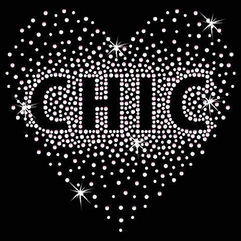 Twisted Envy Chic Heart Diamante Transfer Iron On Hotfix Gem Crystal T-Shirt (Ferro Sul Tessuto Trasferimento)