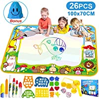 Vykor Aqua Mat Large Water Drawing Mat 70x100cm Water Doodle Mat Travel Drawing Painting Mat with Water Doodle Pens Drawing Painting Stencils, Educational Toy Toddlers, Educational Gifts for Kids