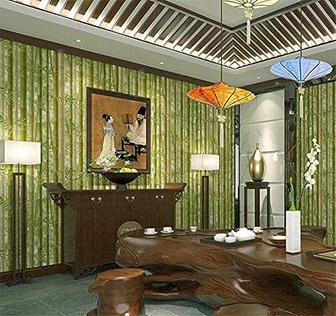 tapete Moderne einfache Tapete Simulation Bambus Blätter grünen Garten Rollbedroom Studium Wohnzimmer Wohnzimmer Chinesische Tapeten rollen , B , 0.53*10m