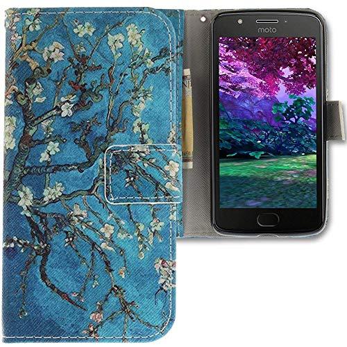 CLM-Tech kompatibel mit Motorola Moto E4 Hülle Tasche Kunstleder, PU Leder-Tasche Lederhülle, Baum AST Blüten blau Mehrfarbig