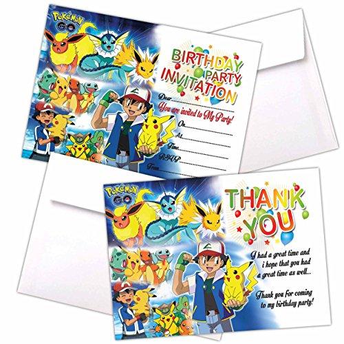 20 X Pokemon Go Kids Birthday Party Invitations With C6 Envelopes