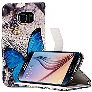 S6 Case, Galaxy S6 Case, Cellularvilla [Stand Feature] [Slim Fit] Samsung Galaxy S6 Wallet Case, Premium PU Leather Case Flip Cover [Wallet] [3 Card Slots] For Samsung Galaxy S6 (Blue Butterfly)