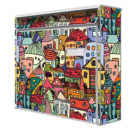 Burg Wächter Design Briefkasten | Postkasten 36 x 32 x 10cm groß | Stahl weiß verzinkt mit Namensschild | großer A4 Einwurf, 2 Schlüssel | Motiv Funky Town