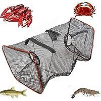 Rete da pesca pieghevole con cerniera, rete da immersione a forma di ombrello per pescare pesci, gamberi, granchi, 20cm x 20cm x 50cm