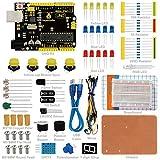 KEYESTUDIO Basic Einsteiger Kit für Arduino Starter Kit, Raspberry Pi mit Steckbrett, Widerständen, Sensoren, Summer, LEDs, Schalter, Potentiometer