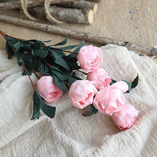 OSYARD Wohnaccessoires & Deko Kunstblumen,Künstliche Seide Kunstblumen 6 Köpfe Hochzeit Blumen Dekor Bouquet Rose Blumenstrauß Gefälschte Blumen Brautstrauss Fake Blumen Home Party Blumenschmuck
