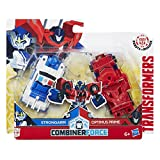 What happens when you crash and combine forces with Transformers Robots in Disguise Optimus Prime and Strongarm figures No not a traffic jam You get a 2 bot Primestrong Crash Combiner figure This Crash Combiner 2 pack features one Optimus Prime figur...