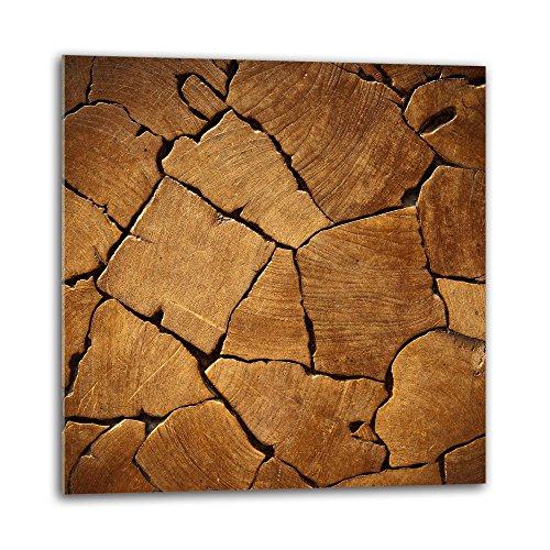 decorwelt Küchenrückwand Spritzschutz aus Glas 60x60 cm Wandschutz Herd Spüle Küchenspritzschutz Fliesenschutz Fliesenspiegel Küche Dekoglas Holz Braun