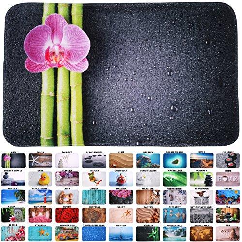 Sanilo Badteppich Asia 70 x 120 cm, hochwertige Qualität, sehr weich, schnelltrocknend, waschbar, rutschhemmend, Fußbodenheizung geeignet (Badezimmer Bilder Lila)