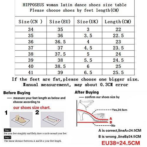 HIPPOSEUS Damen & Mädchen Sandalen Ausgestelltes Tanzschuhe/Ballsaal Standard Satin Latein Dance Schuhe,DE217-5,Blau,EU 39 - 7